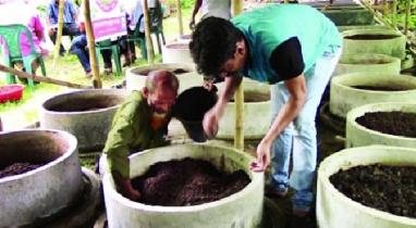 কিশোরগঞ্জের হোসেনপুরে উৎপাদন হচ্ছে ভার্মি কম্পোষ্ট সার